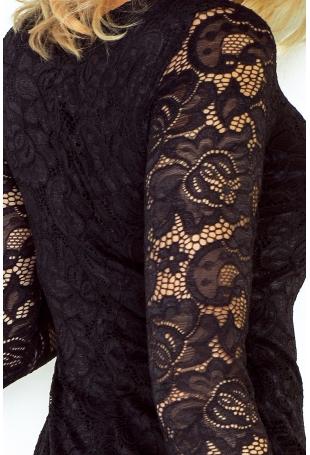 Czarna Koronkowa Sukienka Bodycon