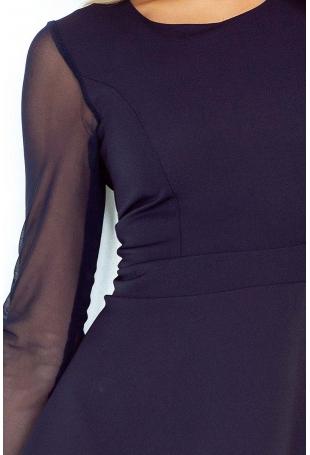 Granatowa Sukienka Wizytowa Rozkloszowana z Transparentnymi Rękawami