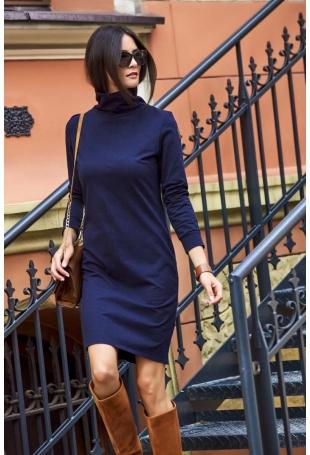 Granatowa Prosta Klasyczna Sukienka z Golfem