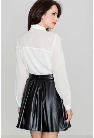 Czarna Plisowana Skórzana Spódnica z Eko skóry
