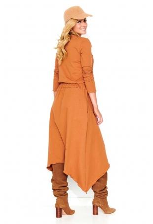 Kamelowa Asymetryczna Długa Sukienka Dzianinowa