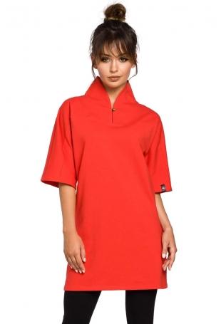 Czerwona Tunika Kimonowa z Wysokim Kołnierzem