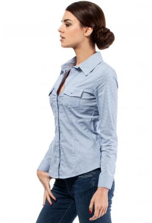 Niebieska Klasyczna Koszula w Delikatny Wzór