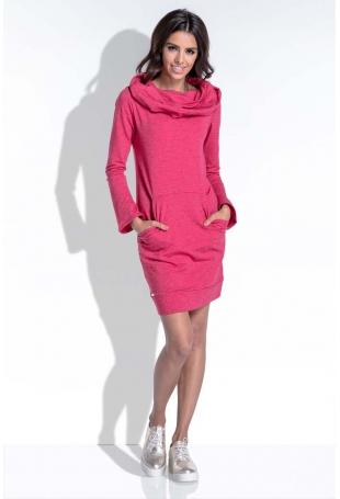 Amarantowa Komfortowa i Kobieca Sukienka Mini