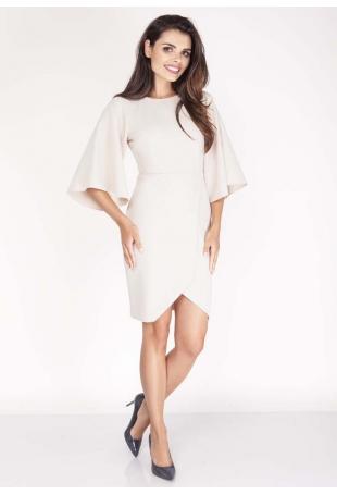Beżowa Sukienka Kopertowa z Hiszpańskim Rękawem