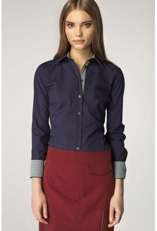 Granatowa Elegancka Koszula z Wstawkami w Kratkę