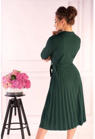 Ciemno Zielona Plisowana Sukienka z Zabudowanym Dekoltem