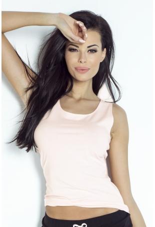Bawełniana Koszulka Bokserka z Kokardką - Różowa