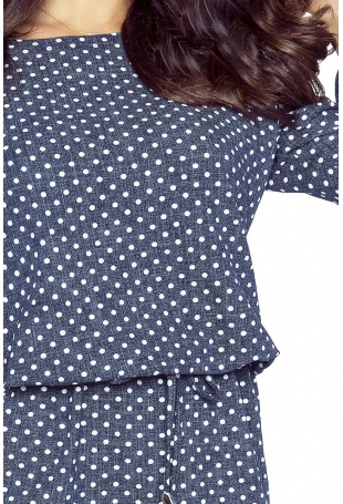 Jeansowa Sukienka w Grochy z Falbanką przy Rękawie