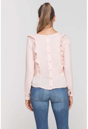 Różowa Bluzka z Falbankami