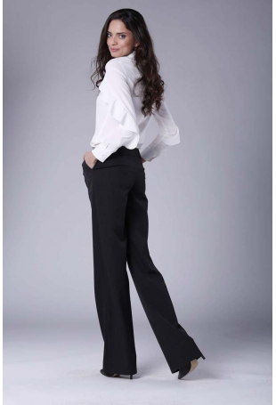 Czarne Eleganckie Spodnie z Prostymi Nogawkami.