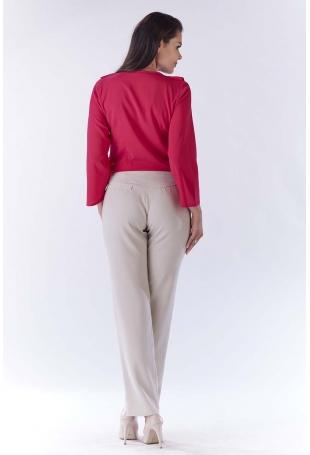Różowa Bluzka z Asymetryczną Falbanką