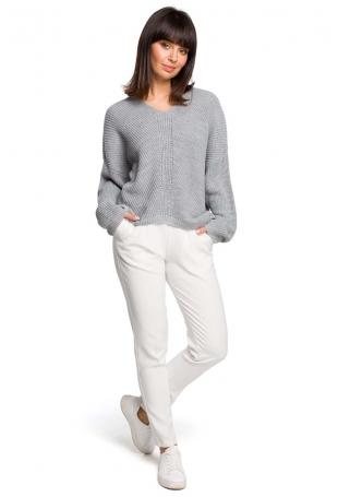 Szary Oversizowy Sweter w Serek z Asymetrycznym Dołem
