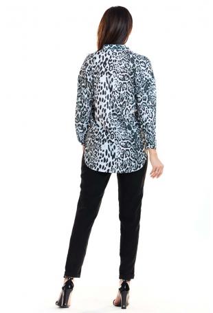Biało Czarna Asymetryczna Koszulowa Bluzka w Cętki