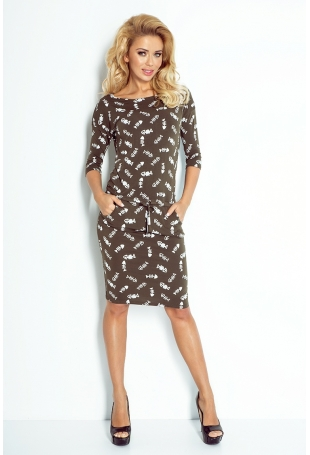 Khaki Sukienka  Ściągana w Pasie Wzór - Ości