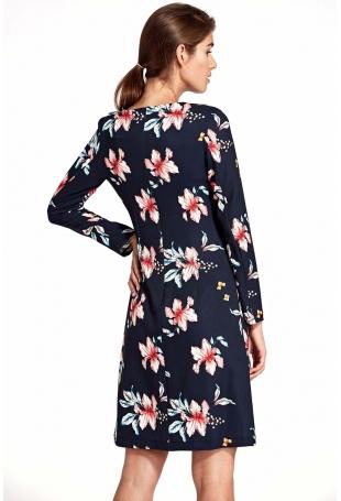 Wizytowa Granatowa Sukienka w Kwiaty z Pionową Falbanką