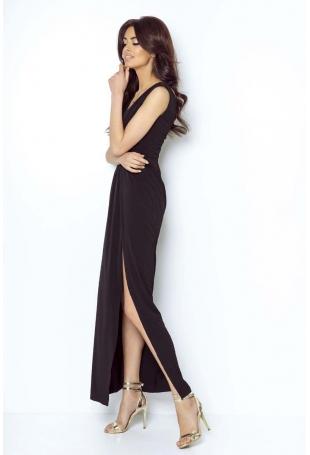 Czarna Wieczorowa Sukienka z Głębokim Dekoltem V