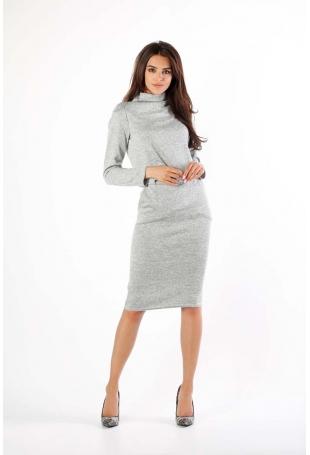 Szara Dzianinowa Sukienka Midi z Golfem