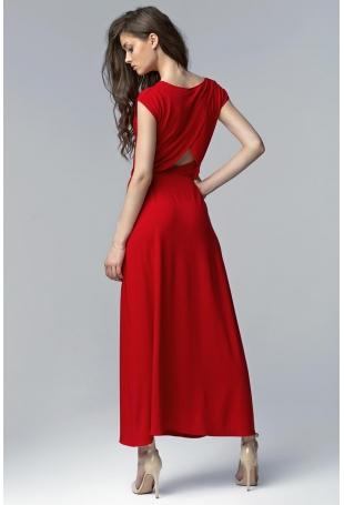 Czerwona Efektowna Maxi Sukienka z Długim Rozporkiem