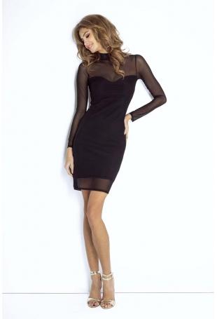 Ołówkowa Mała Czarna Sukienka z Siateczką