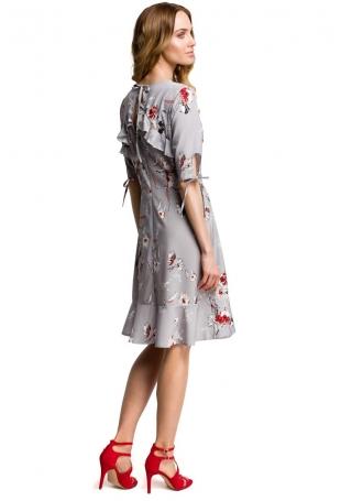 Szara Zwiewna Sukienka w Kwiaty z Falbankami
