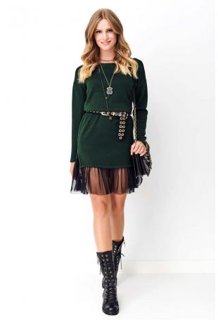 Zielona Dzianinowa Sukienka z Tiulową Falbanką