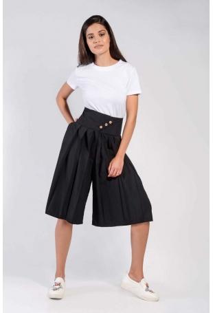 Czarne Spódnico-Spodnie z Asymetrycznym Zapięciem