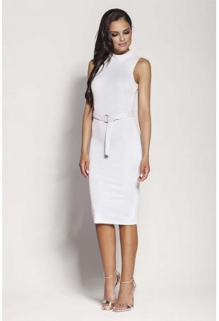 Biała Elegancka Ołówkowa Sukienka z Połyskiem