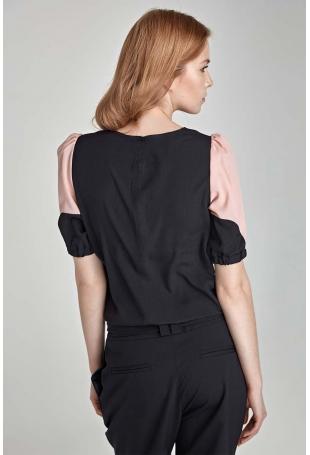 Czarno-Różowa Elegancka Bluzka z Krótkim Rękawem