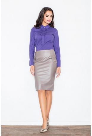 Klasyczna Elegancka Ołówkowa Spódnica w Kolorze Mocca