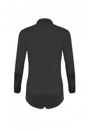 Czarna Klasyczna Koszula - Body z Długim Rękawem