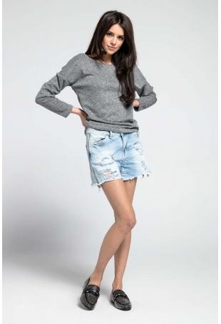 Ciemnoszary Cienki Oversizowy Sweter z Dużym Dekoltem