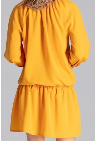 Luźna Musztardowa Sukienka z Gumką na Biodrach