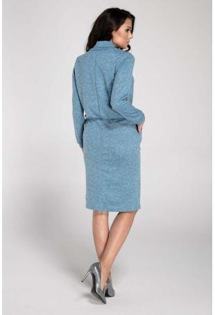 Niebieska Sukienka Mini z Półgolfem