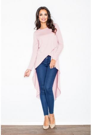 Różowa Asymetryczna Modna Tunika z Długim Rękawem