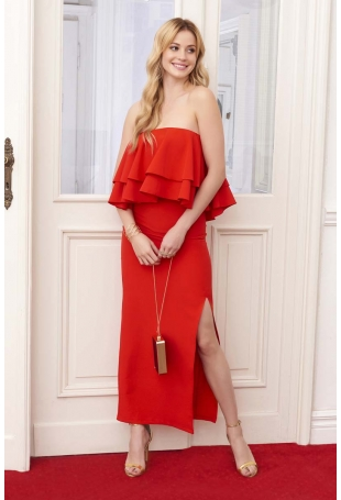 Czerwona Sukienka Maxi Wieczorowa z Rozcięciem na Boku