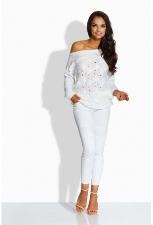 Biały Sweter z Ażurowym Wzorem
