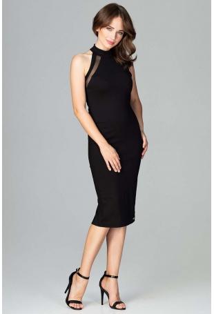 Czarna Ołówkowa Sukienka na Stójce z Tiulową Wstawką