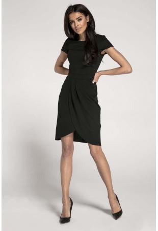Czarna Elegancka Dopasowana Sukienka z Kopertowym Dołem