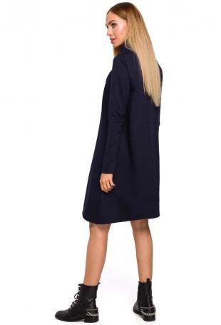 Granatowa Asymetryczna Trapezowa Sukienka z Golfem