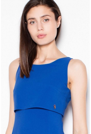 Niebieska Wieczorowa Maxi Sukienka z Nakładką