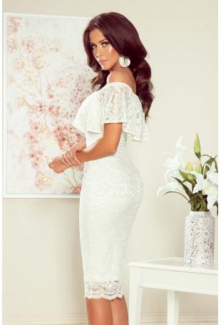Ecru Ołówkowa Sukienka Hiszpanka z Koronki
