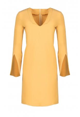 Żółta Sukienka Koktajlowa Mini z Rozciętym Rękawem