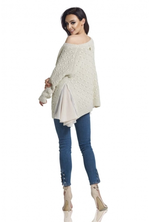 Beżowy Asymetryczny Oversizowy Sweter z Szyfonową Falbanką