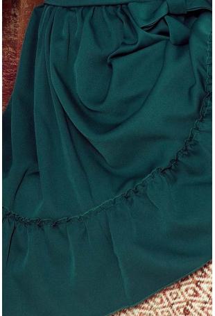 Zielona Zwiewna Kobieca Sukienka z Falbankami