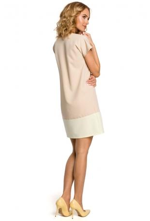 Pastelowa Prosta Mini Sukienka - Beżowy