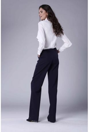Granatowe Eleganckie Spodnie z Prostymi Nogawkami.