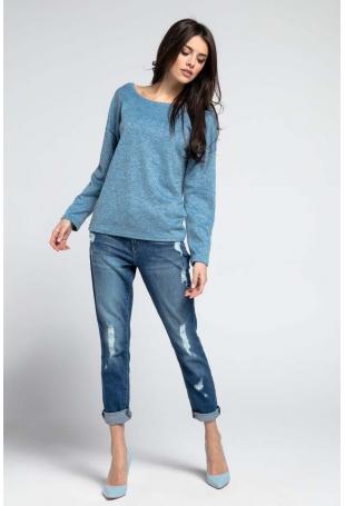 Niebieski Cienki Oversizowy Sweter z Dużym Dekoltem