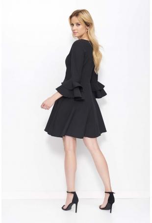 Czarna Krótka Rozkloszowana Sukienka z Głębokim Dekoltem
