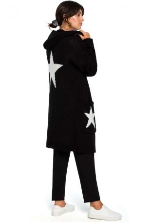 Czarny Długi Kardigan Sweter z Kapturem w Gwiazdy